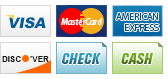 We accept Visa, MasterCard, American Express, Discover, Check and Cash.
